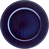 The Jay Companies 1270168 13 inch Round Royal Blue Beaded Plastic Charger Plate