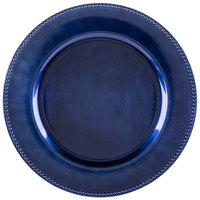 The Jay Companies 13 inch Round Royal Blue Beaded Melamine Charger Plate