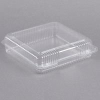 Dart C50UT1 StayLock 9 1/8 inch x 9 1/2 inch x 2 1/2 inch Clear Hinged Plastic 9 inch Square Container - 125/Pack