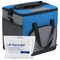 Choice Insulated Leak Proof Cooler Bag / Soft Cooler, Blue Nylon 12 inch x 9 inch x 11 1/2 inch, with Foam Freeze Pack Kit