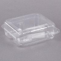 Dart C51UT3 StayLock 8 1/4 inch x 7 3/4 inch x 3 inch Clear Hinged Plastic Medium 3-Compartment Container - 125/Pack