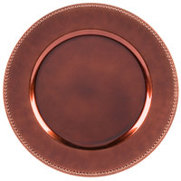 The Jay Companies 13 inch Round Copper Beaded Melamine Charger Plate