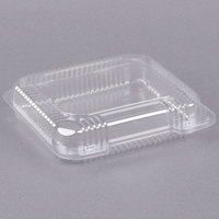 Dart C51UTS StayLock 8 1/4 inch x 7 3/4 inch x 2 inch Clear Hinged Plastic Medium Shallow Container - 125/Pack
