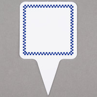 Square Write On Deli Sign Spear with Blue Checkered Border - 25/Pack