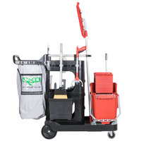 Unger RRSPL 32 Qt. Better Cleaning Specialist Janitorial Cart and Complete Cleaning System