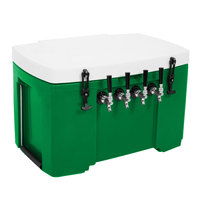 Green 4 Faucet Grizzly Jockey Box with (4) 120' Coils - 30 inch x 20 1/2 inch x 20 inch