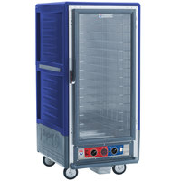 Metro C537-CLFC-4 C5 3 Series Insulated Low Wattage 3/4 Size Heated Holding and Proofing Cabinet with Fixed Wire Slides and Clear Door - Blue