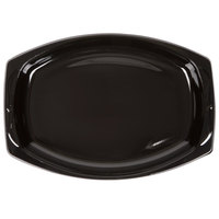 Genpak BLK11 Silhouette 7 inch x 10 1/2 inch Black Premium Plastic Platter - 500/Case