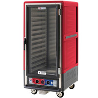 Metro C537-CLFC-L C5 3 Series Insulated Low Wattage 3/4 Size Heated Holding and Proofing Cabinet with Lip Load Aluminum Slides and Clear Door - Red