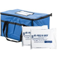 Choice Soft Sided 23 inch x 13 inch x 15 inch Blue Insulated Nylon Food Delivery Bag / Pan Carrier with Foam Freeze Pack Kit