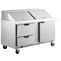 Beverage-Air SPED60HC-24M-2 60 inch 1 Door 2 Drawer Mega Top Refrigerated Sandwich Prep Table