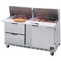 Beverage Air SPED60HC-24M-2 60 inch 1 Door 2 Drawer Mega Top Refrigerated Sandwich Prep Table