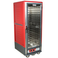 Metro C539-HLFC-4 C5 3 Series Insulated Low Wattage Full Size Hot Holding Cabinet with Fixed Wire Slides and Clear Door - Red