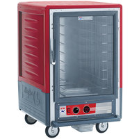 Metro C535-HLFC-L C5 3 Series Insulated Low Wattage Half Size Heated Holding Cabinet with Universal Wire Slides and Clear Door - Red