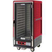 Metro C537-HLFC-L C5 3 Series Insulated Low Wattage 3/4 Size Heated Holding Cabinet with Lip Load Aluminum Slides and Clear Door - Red