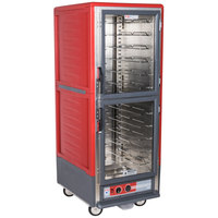 Metro C539-HLDC-U C5 3 Series Insulated Low Wattage Full Size Hot Holding Cabinet with Universal Wire Slides and Clear Dutch Doors - Red
