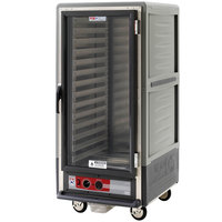 Metro C537-HLFC-L-GY C5 3 Series Insulated Low Wattage 3/4 Size Heated Holding Cabinet with Lip Load Aluminum Slides and Clear Door - Gray