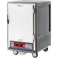 Metro C535-HLFS-4-GY C5 3 Series Insulated Low Wattage Half Size Heated Holding Cabinet with Fixed Wire Slides and Solid Door - Gray