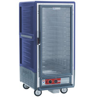 Metro C537-HLFC-4-BU C5 3 Series Insulated Low Wattage 3/4 Size Heated Holding Cabinet with Fixed Wire Slides and Clear Door - Blue