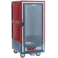 Metro C537-HLFC-4 C5 3 Series Insulated Low Wattage 3/4 Size Heated Holding Cabinet with Fixed Wire Slides and Clear Door - Red