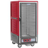 Metro C537-HLFC-U C5 3 Series Insulated Low Wattage 3/4 Size Heated Holding Cabinet with Universal Wire Slides and Clear Door - Red