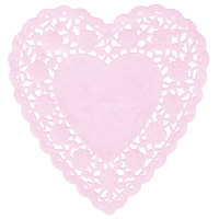 6 inch Pink Paper Heart Doilies - 1000/Case