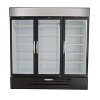 Beverage Air MMF72-5-B-LED Black Marketmax 3 Glass Door Merchandising Freezer with LED Lighting and Swing Doors - 72 Cu. Ft.