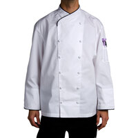 Chef Revival Gold J008-L Men's Chef-Tex Size 46 (L) Customizable Poly-Cotton Corporate Chef Jacket with Black Piping