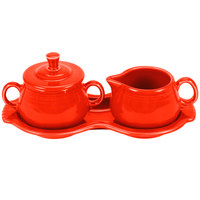 Homer Laughlin 821338 Fiesta Poppy Sugar and Creamer Tray Set - 4/Case