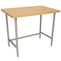 Advance Tabco TH2S-304 Wood Top Work Table with Stainless Steel Base - 30 inch x 48 inch
