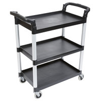 Cambro BC331KD110 Black Three Shelf Utility Cart (Unassembled) - 32 7/8 inch x 16 1/4 inch x 38 inch