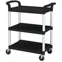 Cambro BC331KD110 Black Three Shelf Utility Cart  (Unassembled) - 32 7/8 inch x 16 1/4 inch x 38 inch