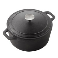 American Metalcraft CIPR3 8 3/4 inch Round Cast Iron Casserole with Handles