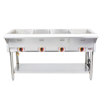 APW Wyott ST-4 Four Pan Exposed Stationary Steam Table with Coated Legs and Undershelf - 2000W - Open Well, 208V