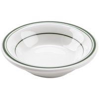 Tuxton TGB-032 Green Bay 3 oz. Eggshell China Fruit / Monkey Dish with Green Bands - 36/Case