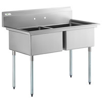 Regency 53 inch 16-Gauge Stainless Steel Two Compartment Commercial Sink with Galvanized Steel Legs and without Drainboard - 23 inch x 23 inch x 12 inch Bowls