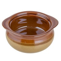 Acopa Two Tone 10 oz. Onion Soup Stoneware Crock / Bowl - 24/Case