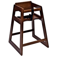Koala Kare KB800-24 27 1/2 inch Assembled Stacking Restaurant High Chair with Walnut Finish