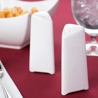 American Metalcraft CTSP3 3 3/4 inchH Porcelain Triangle Salt And Pepper Shaker Set