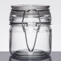American Metalcraft HMMJ4 4 oz. Glass Miniature Hinged Apothecary Jar