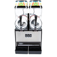 Omega OFS20 Black and Stainless Steel Double 3 Gallon Pourover Slushy / Granita Machine - 120V