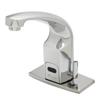 T&S EC-3132-4DP 5 1/2 inch Electronic Hands Free Deck Mount Cast Spout Faucet with 4 inch Deck Plate