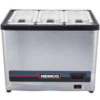 Nemco 9020-3 Countertop Cold Condiment Chiller with Three 1/9 Size Food Pans and Clear Lids - 120V