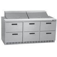 Delfield D4472N-24M 72 inch 6 Drawer Mega Top Refrigerated Sandwich Prep Table