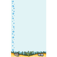 8 1/2 inch x 14 inch Menu Paper - Seafood Themed Bubbles Design Left Insert - 100/Pack