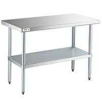 Regency 24 inch x 48 inch 18-Gauge 304 Stainless Steel Commercial Work Table with Galvanized Legs and Undershelf