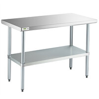 Regency 24 X 48 18 Gauge 304 Stainless Steel Commercial Work Table With Galvanized Legs And Undershelf