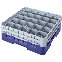 Cambro 25S418186 Camrack 4 1/2 inch High Customizable Navy Blue 25 Compartment Glass Rack