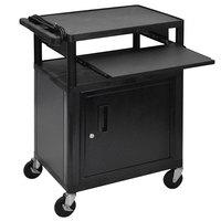 Luxor LP34CLE-B 3-Shelf Plastic AV Cart with Steel Locking Cabinet - 18 inch x 24 inch x 34 inch