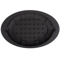 Lodge US011 Black 8 3/4 inch x 13 inch Oval Heat-Resistant Black Silicone Underliner